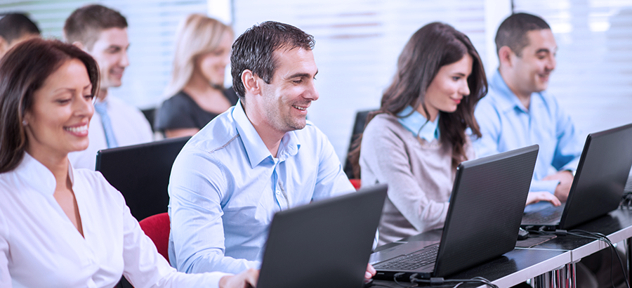 erp education - people at computer doing e-training